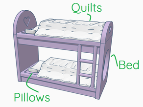 Doll Bunk Bed with TPU quilts and Pillows fit Polly Pocket etc