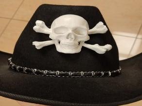 Skull and bones hat decoration