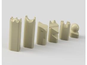 Stylized chess pieces