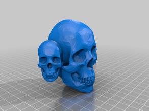 Three headed skull knob