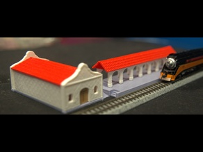N-Scale Mission Revival Train Station Complete