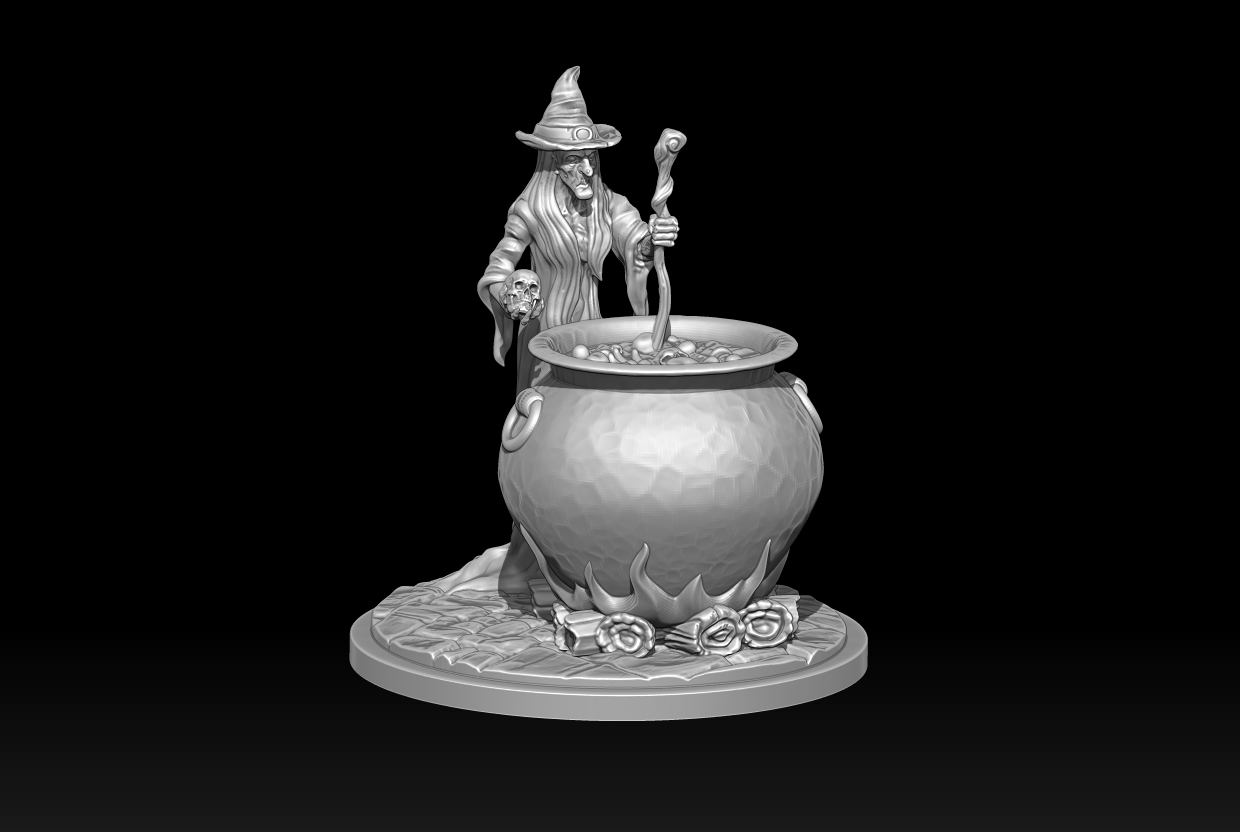 Witch Hettie with cauldron