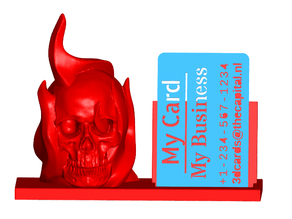Flaming Skull Business Card Holder (Expandable)