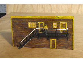N Scale - Stairs, walkway, railings, braces and a building wall.