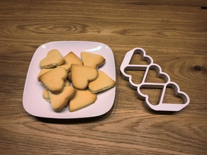 Heart cookie cutter (five at once)