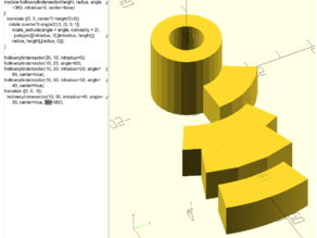 OpenSCAD simple hollowed cylinder and sector of it !