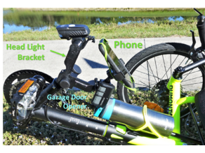 Headlight and Phone Accessory Mount for Catrike Recumbent