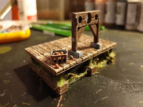 Medieval stocks with platform and rotten tomatoes 28mm