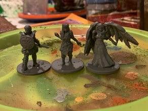 (Desktop Hero) Warrior, Angel, and Dryad Female Miniatures for Tabletop Roleplay