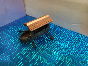 Miniature Covered Boat with Oars