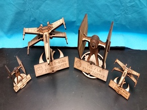 Tie Fighter with Stand optimized for Inkscape / K40 laser 5mm wood