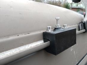 Tarp holder for rain gutter of a car