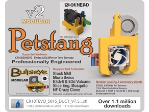 Petsfang Duct for CR10 MicroSwiss/Stock/E3Dv6/Volcano/TevoTornado /Tarantula Hot End/E3Dv6 CNC Mount & 5015 fan Bullseye Blokhead