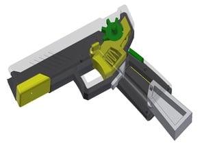Fully-printable, snap-together, semi-auto elastic band gun