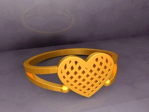 KTFRD04 Filigree Heart Geometric Ring 3D design