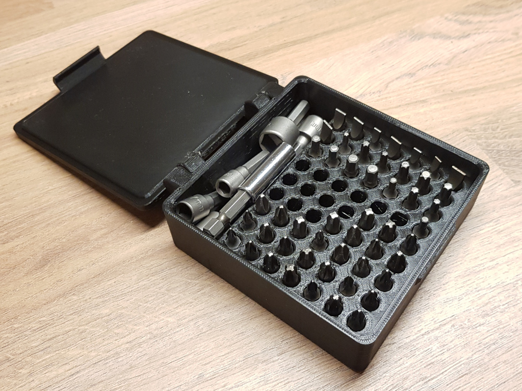 Hex Bit Box 63 slot with small place for adapters