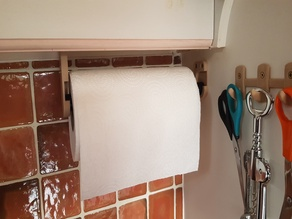 Kitchen roll holder and hooks