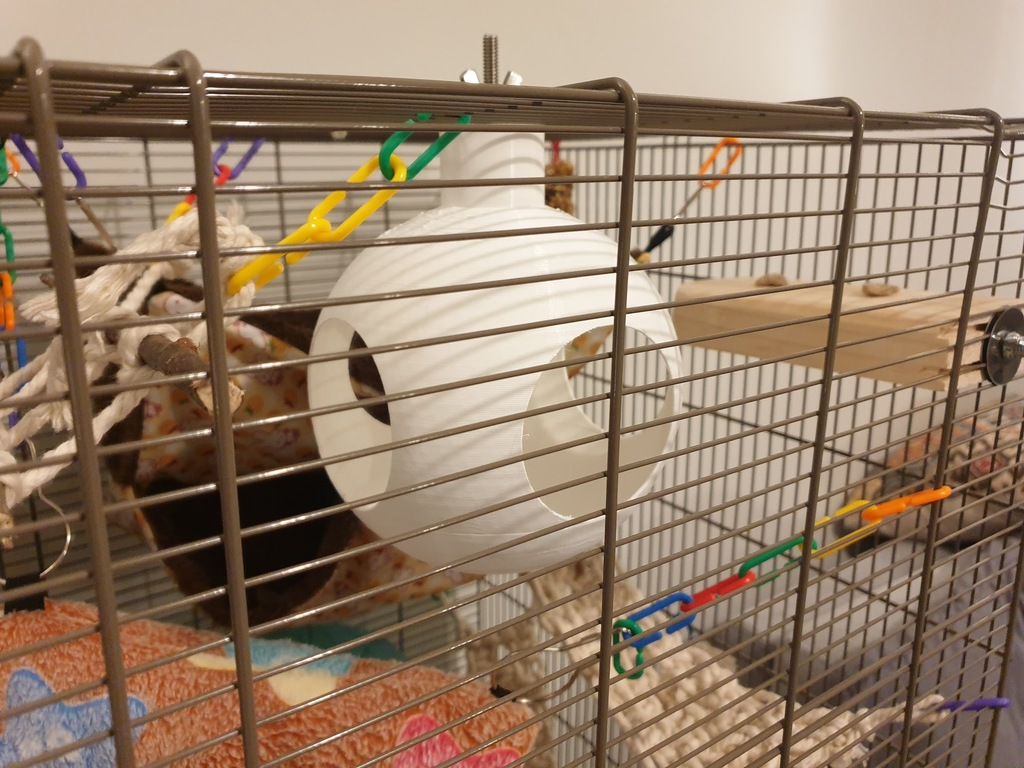 Spherical cage mounted rat (or other rodent) house