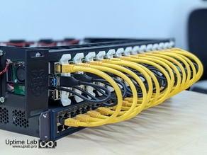 Raspberry Pi 4 2U rack-mount Mark II for 12 Raspberry with 12 Samsung T5