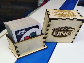 Wood laser box for UNO play cards