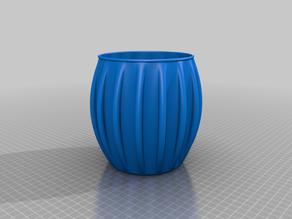 Larger Rib with round lip Round Vase / Pot