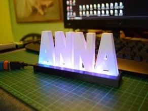 3D Printed Name Desktop Display with RGB Lights