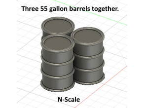 Three 55 Gallon Barrels tied together -- N scale