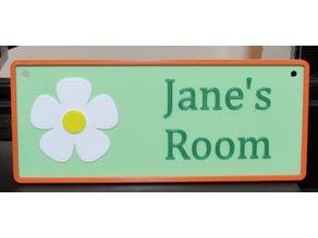 Jane's Room Name Plate