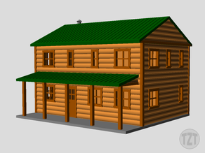 Log Cabin, House, Structure, Home (N, HO, O scale model railroad layout)