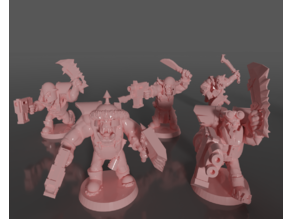 Ork soldiers with melee weapons and pistols set#3