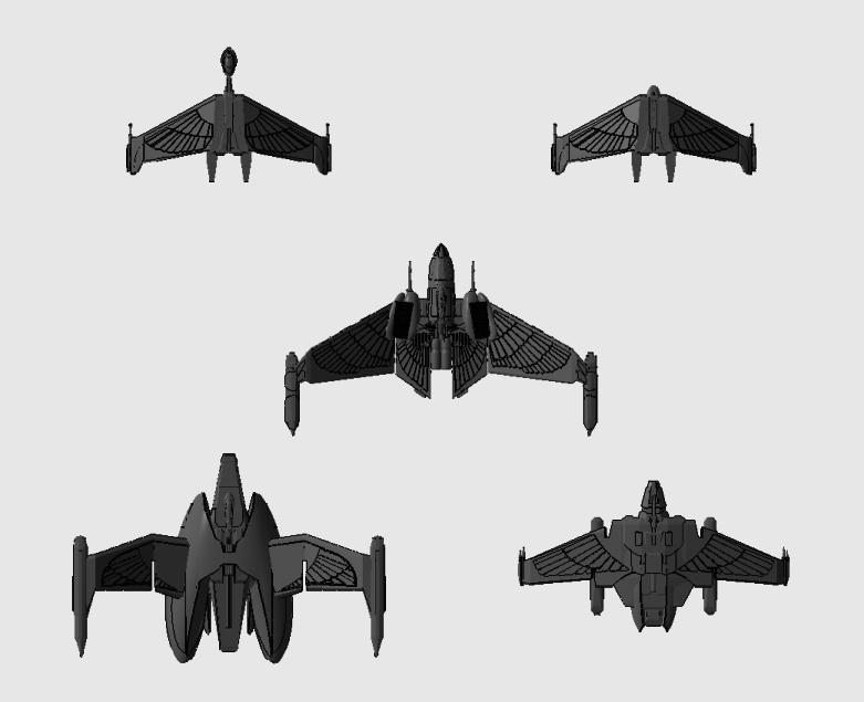 "Star Trek starship parts kit expansion #6: FASA Romulan ""Wing"" cruisers"