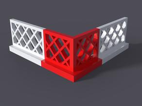 Lego-compatible corner fence