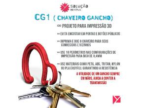 CG0 - Chaveiro Gancho ( COVID-19 ) - Impressão 3D