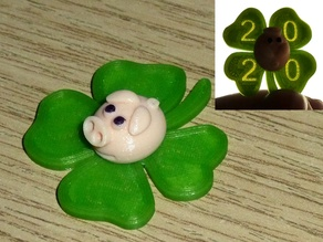 Glücksbringer 2020 (New Year Clover with Pig - hidden numbers)