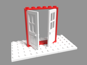 Lego compatible 6x6 frame for double doors