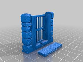 D&D Dungeon Stone Openning Wooden Door (working hinge)