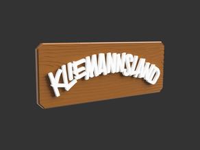 Kliemannsland Logo on Wooden Board