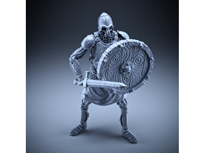 Skeleton - Heavy Infantry - Sword + Round Shield - Defensive Pose