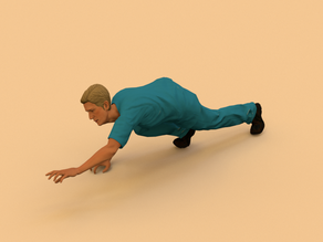 Man crawling on ground