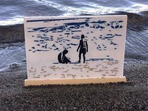Kids on Beach -Silhouette