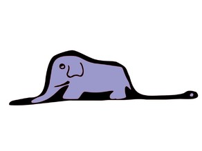 Snake eat elephant in lithophane