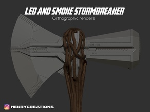 Thor Axe Stormbreaker. 3D model Orthographic Views. Templates