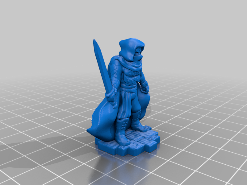 Cloaked Bandit with Sword - Tabletop miniature - Support Free