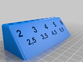 Milling Cutter Stand 6mm Shank 1.5mm - 6.0mm in 0.5mm Steps / Fräser Ständer 6mm Schaft von 1.5mm bis 6mm in 0.5er Schritten