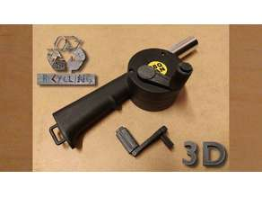 Winch handle for barbecue fan air blower