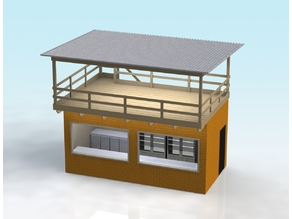 1:32 SCALE FACE-BRICK BUILDING WITH ROOF DECK