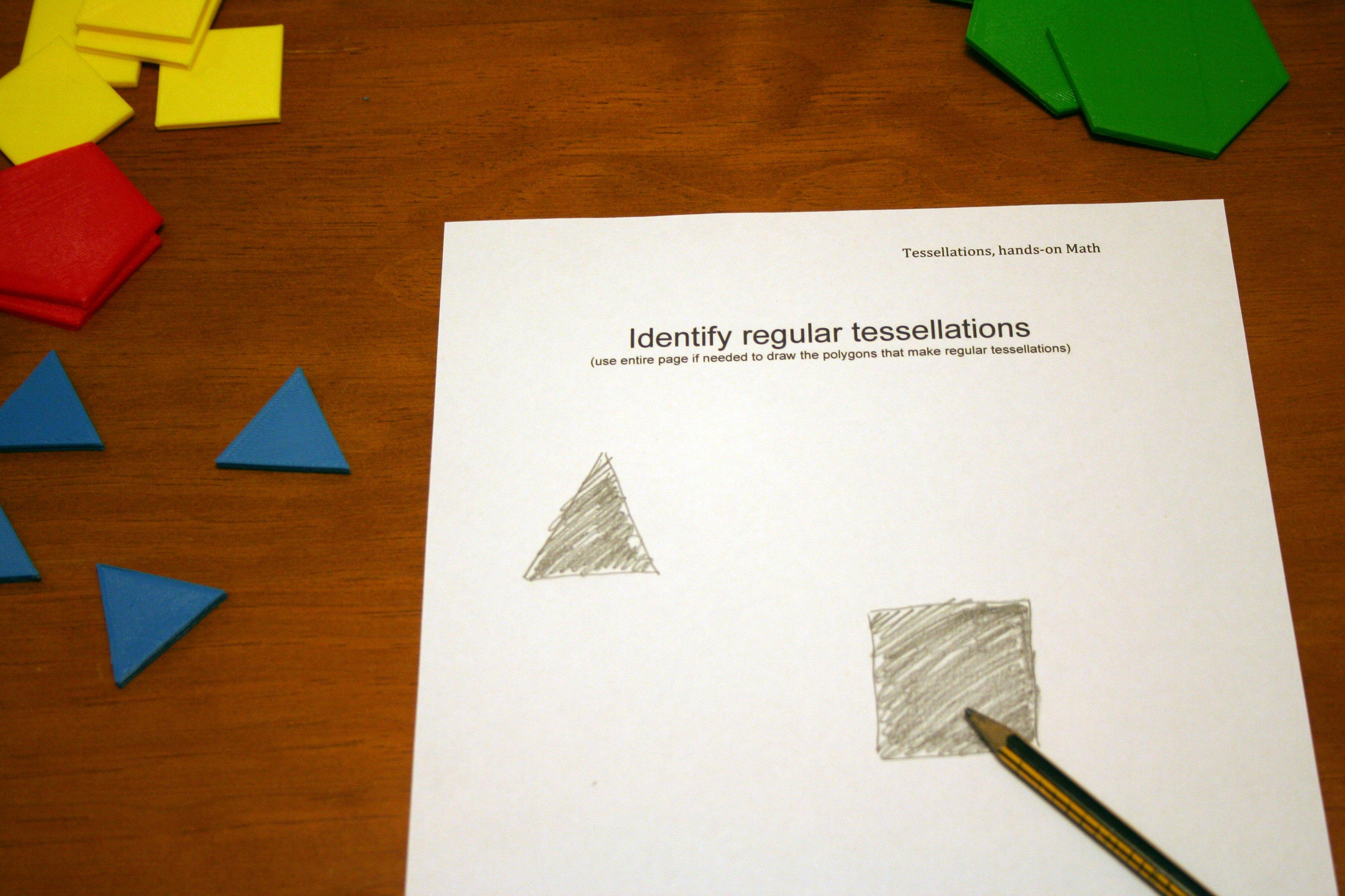 Students Identify regular tessellations worksheet