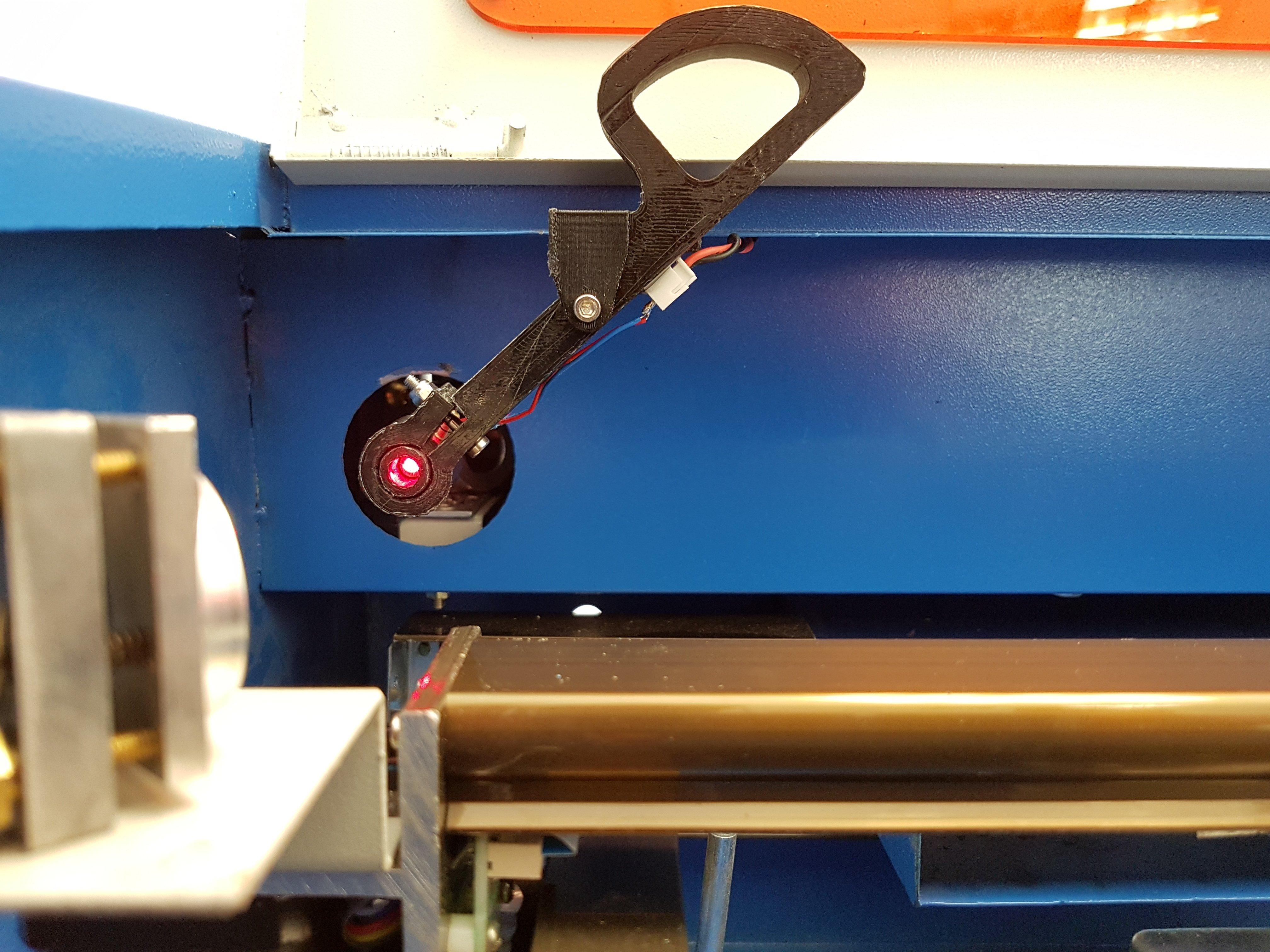 Modified laser pointer holder for K40 laser cutter by Jeffthegeek