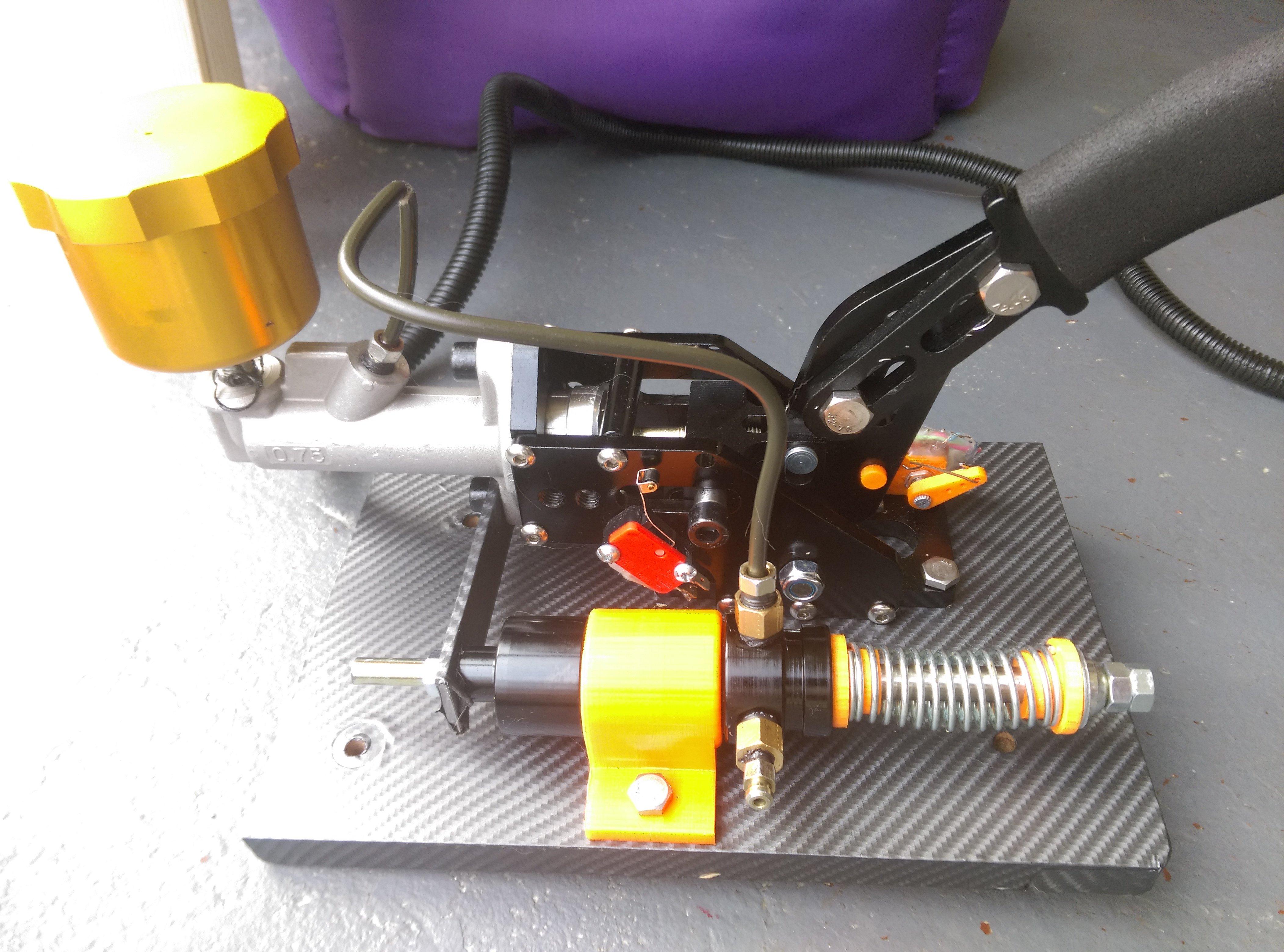 sim racing hydraulic e-brake 3d print parts by clos2727