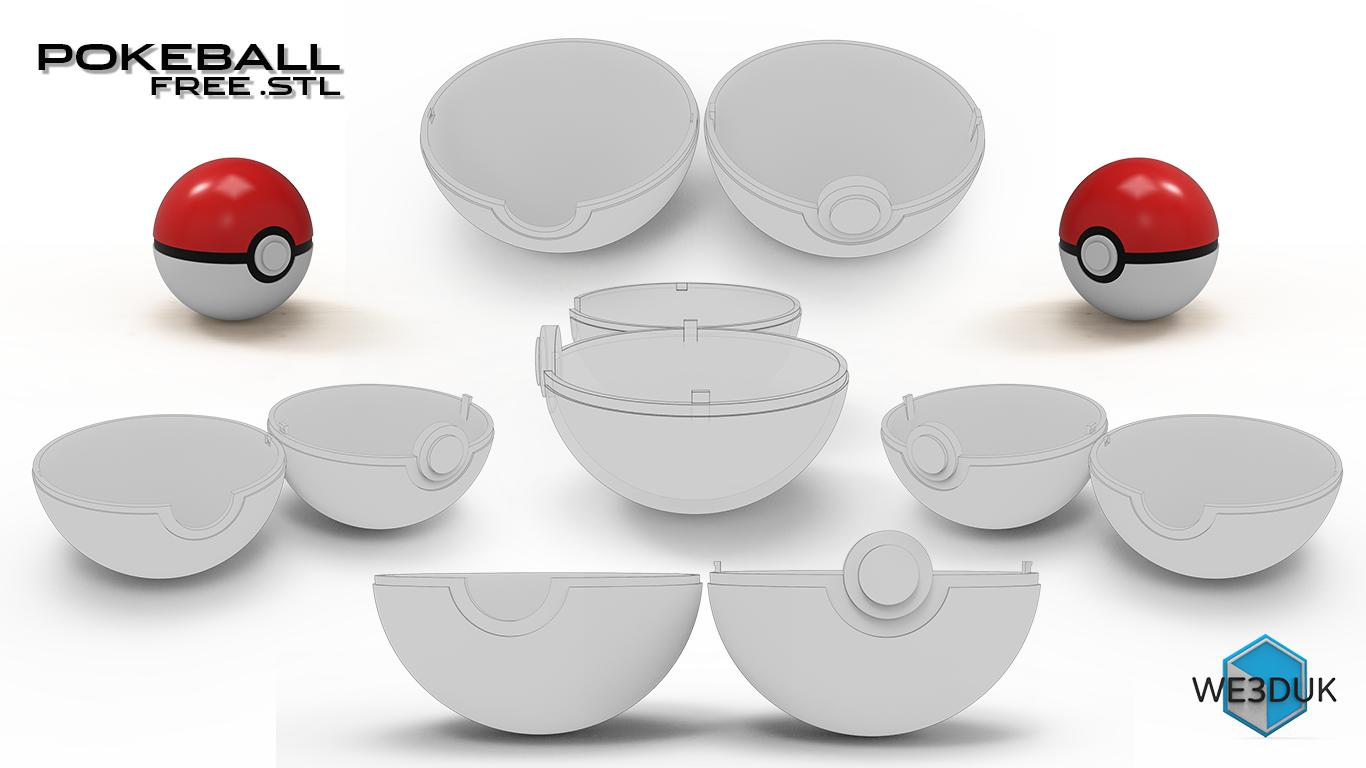 Pokemon Pokeball - 5 Parts - Fully Opens